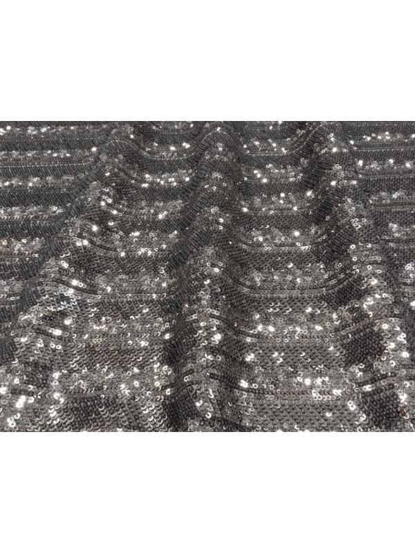 Stretch Tulle Sequins Fabric Metallic Grey