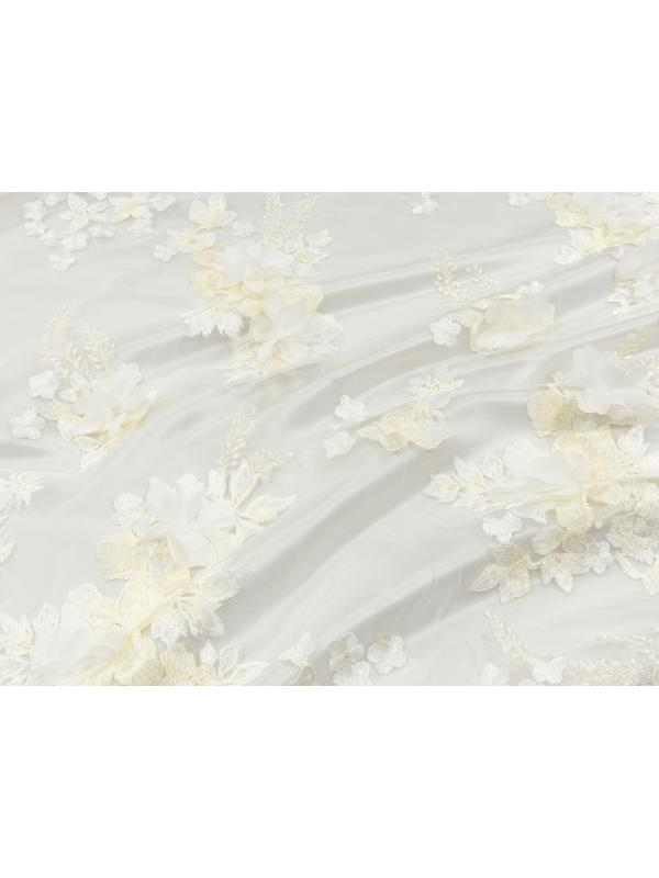 Mtr. 1.70 3D Embroidered Tulle Fabric Floral Ivory White