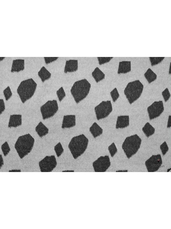 Mtr. 2.50 Double Face Jacquard Wool Fabric Grey - Black