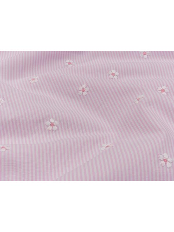 Embroidered Cotton Poplin Fabric Floral Pink White - Ratti