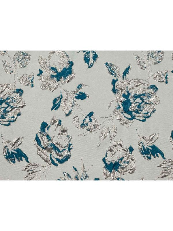 Mtr. 1.50 Embossed Fabric Floral Teal Blue