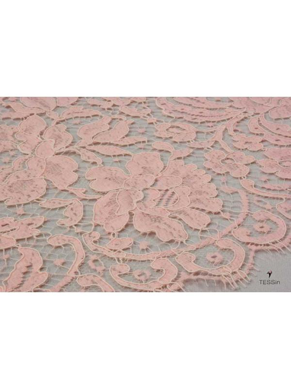 Heavy Lace Fabric Dentelle Leavers Peach Pink Solstiss