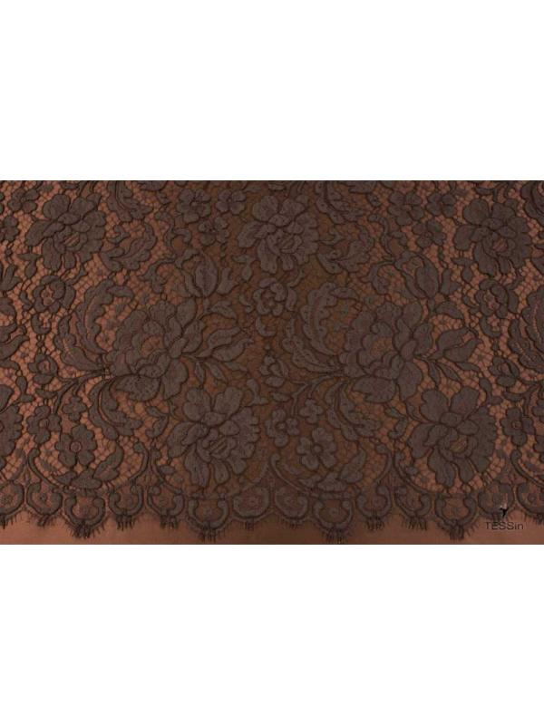 Heavy Lace Fabric Dentelle Leavers Cocoa Solstiss