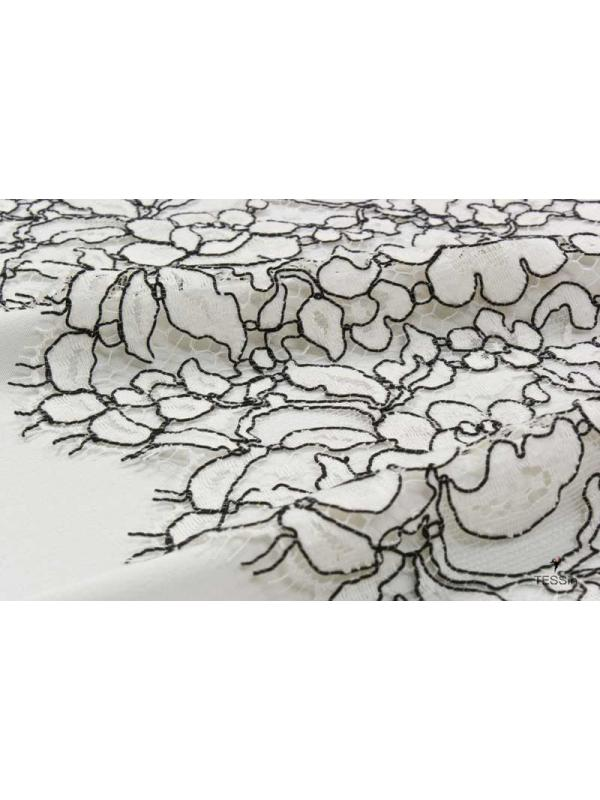 Corded Chantilly Lace Fabric Dentelle Leavers Greige Solstiss