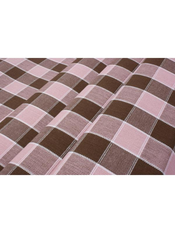 Yarn Dyed Checked Fabric Tablecloth Pink Cocoa