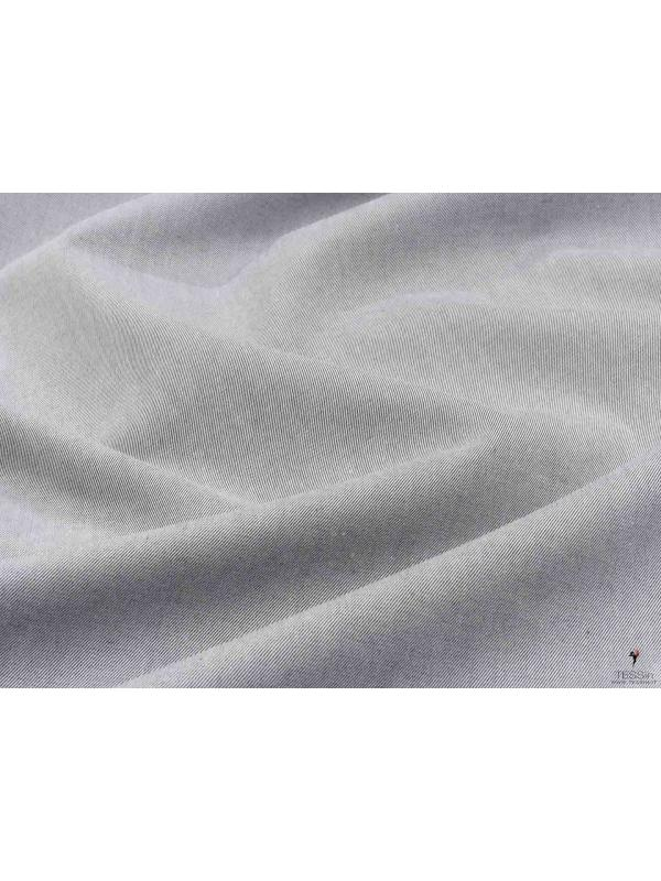 Cotton Twill Yarn Dyed Fabric Light Grey Made in Italy