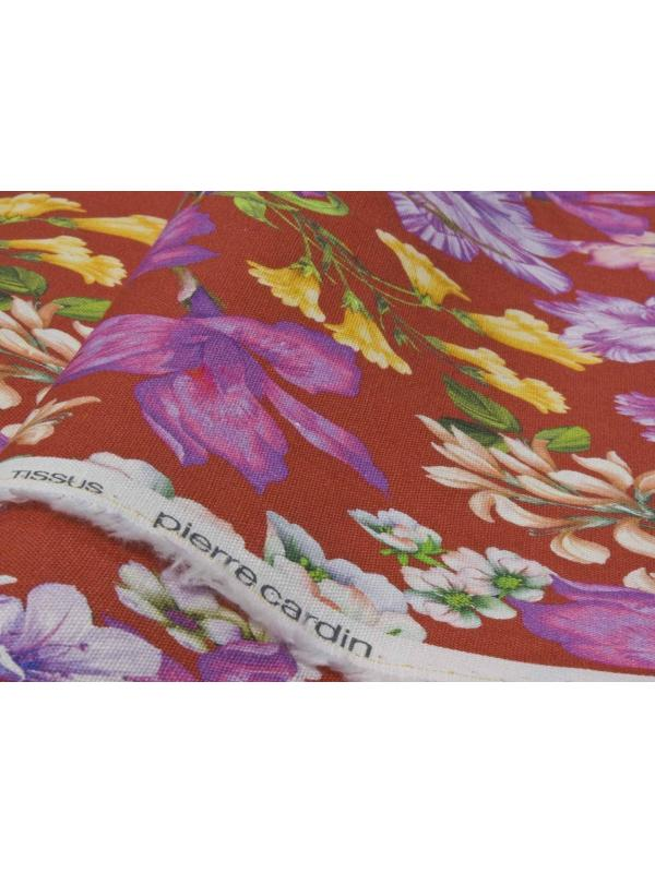 Linen Fabric Floral Red - Pierre Cardin