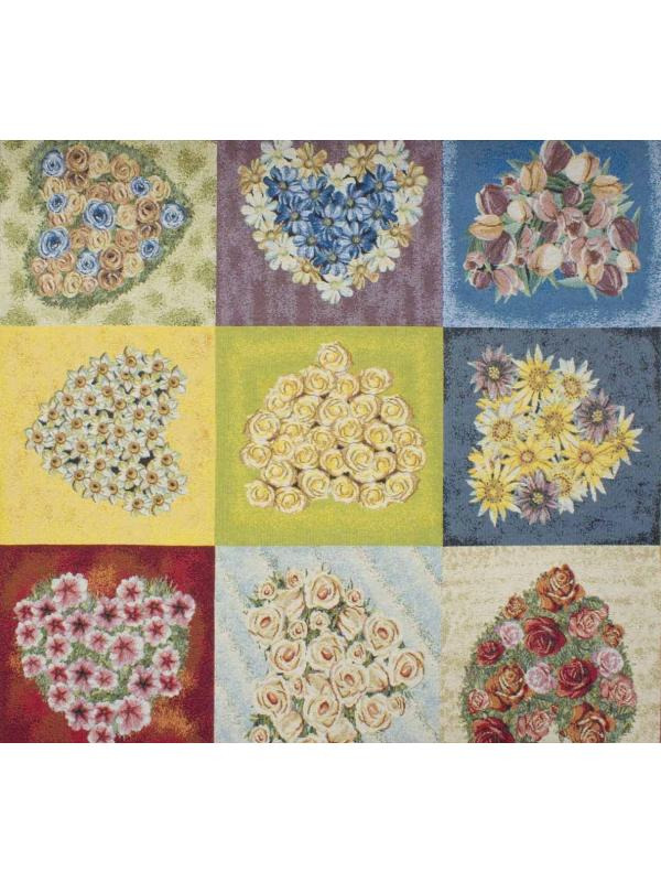 Tapestry Fabric Hearts & Flowers Nordic-Country