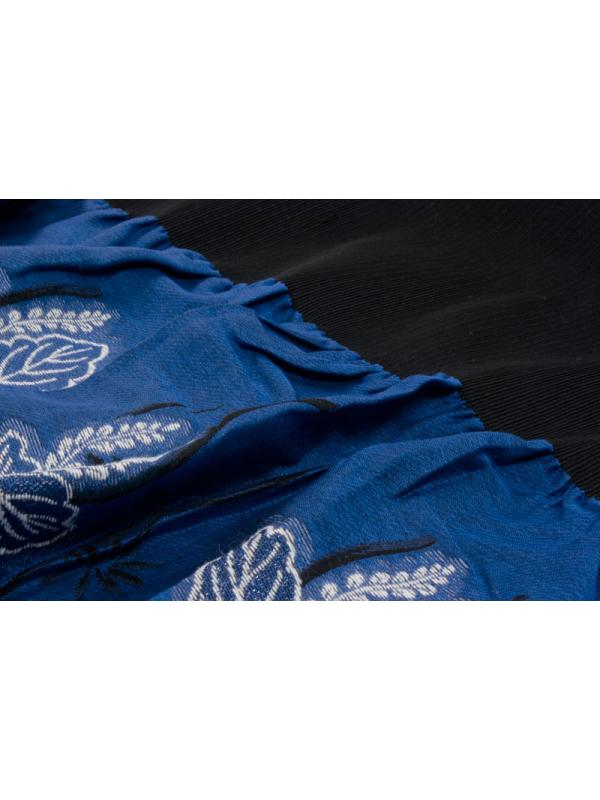 Panel Jacquard Wool Blend Fabric Floral Electric Blue