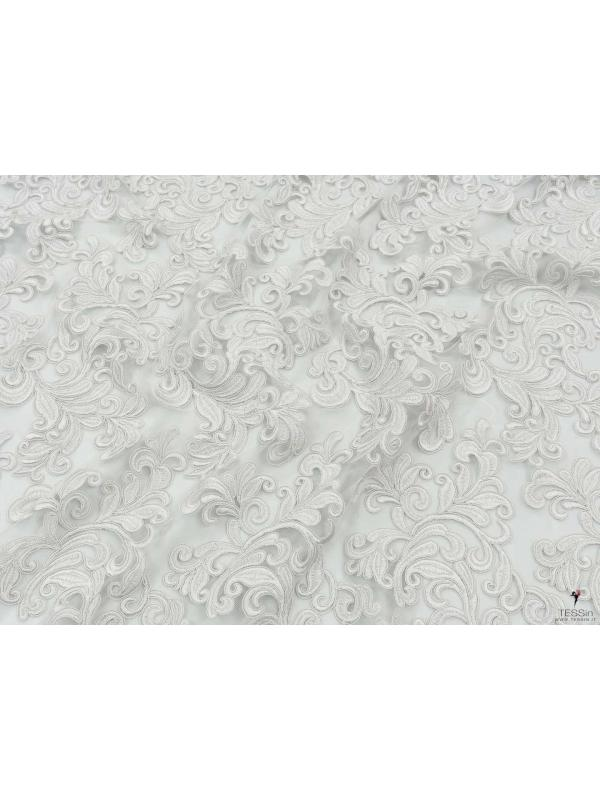 Embroidered Lace Fabric Foliage Pearl Grey