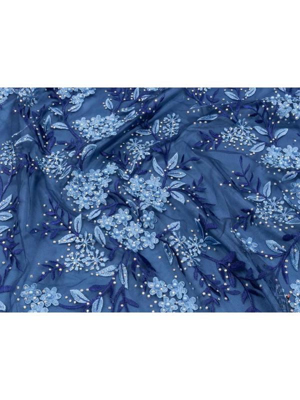 Embroidered Tulle Fabric Navy Blue