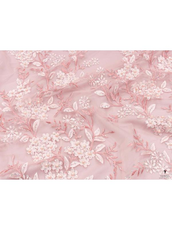 Embroidered Tulle Fabric Quartz Pink