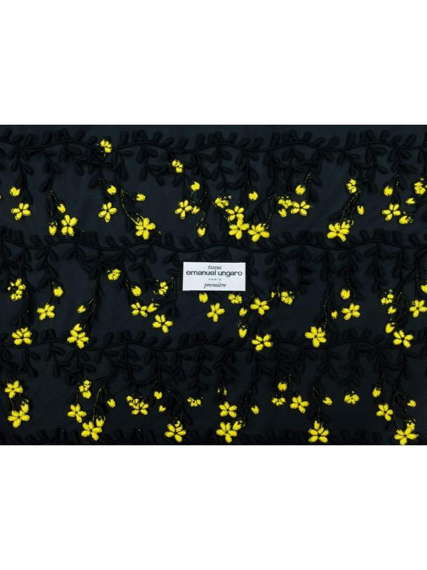 Mtr. 1.50 Fringe Embroidered Tulle Floral Fabric Black Yellow Emanuel Ungaro