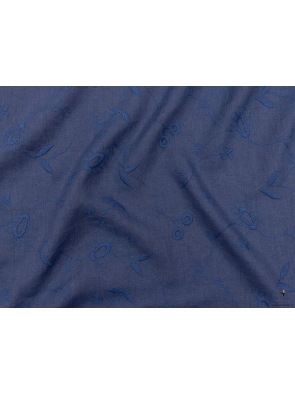 Tessuto Lino Ricamato Blu Denim Made in Italy