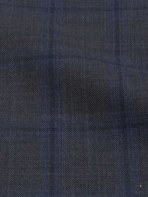 Traveller 4 Seasons Fabric Windowpane Dark Brown Blue Ermenegildo Zegna