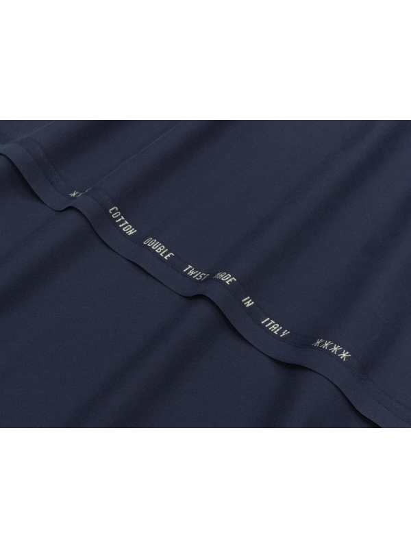 Tessuto Twill Cotone Tinto in Filo Blu Navy Made in Italy