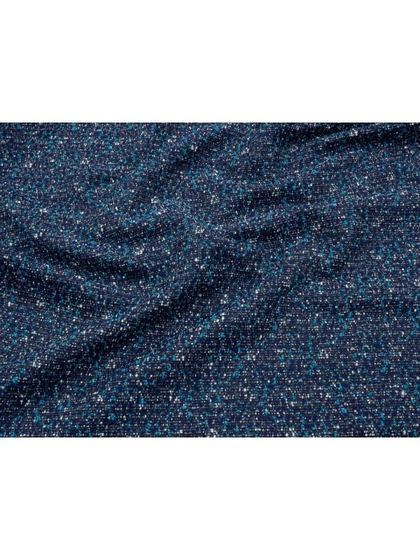 Mtr. 1.30 Bouclè Wool Blend Fabric Ink Blue Turquoise White