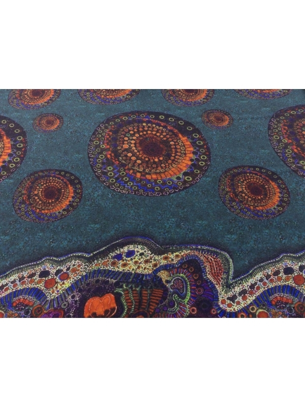 Mtr. 1.15 Crepe de Chine Fabric Panel Abstract Teal Blue