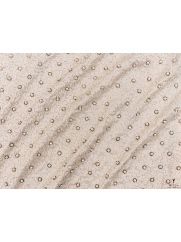 Mtr. 0.70 Embroidered Pure Silk Shantung Fabric Off White Made in Italy