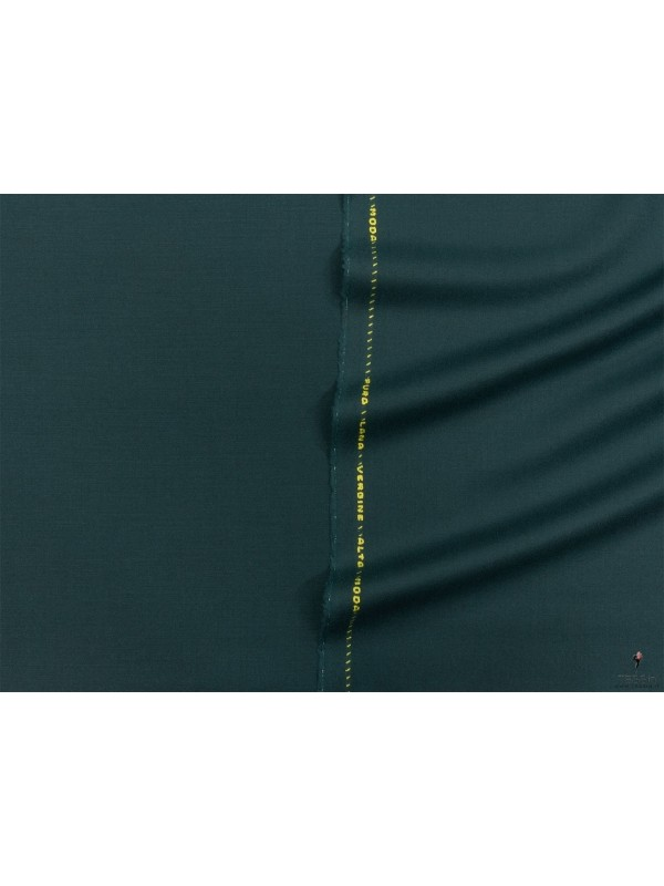 Wool Stretch Flannel Fabric Petroleum Green Made in Italy
